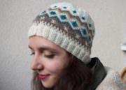 Fingerlose Handschuhe und Beanie-Mütze mit Fair Isle Muster