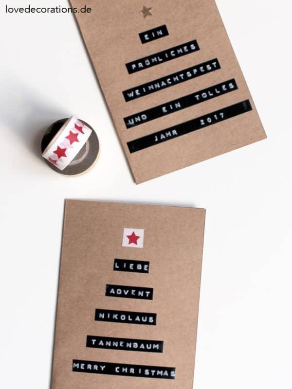 Stylische Weihnachtskarten.Diy Weihnachtskarte Mit Dymo Handmade Kultur