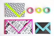 3 DIY Umschläge aus Geschenkpapier - Schwarz / Weiß und Neonfarben