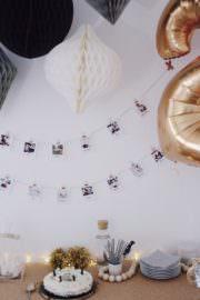 Kindergeburtstag: Dekoration im Gold-Trend plus Foto-Girlanden Idee