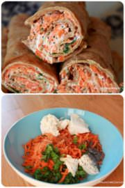 Rezept: Dinkelpfannkuchen mit Karotten, Ziegenkäse Füllung!