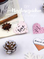 DIY Geschenkidee: Herzlesezeichen mit Vorlage