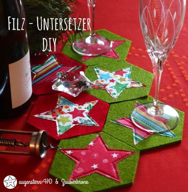 {Anleitung} DIY Glas Untersetzer mit Stern nähen | Schnittmuster (Download)
