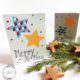 Weihnachtskarte mit Sternen aus Stoff