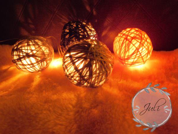 DIY Lichterkette mit Garn