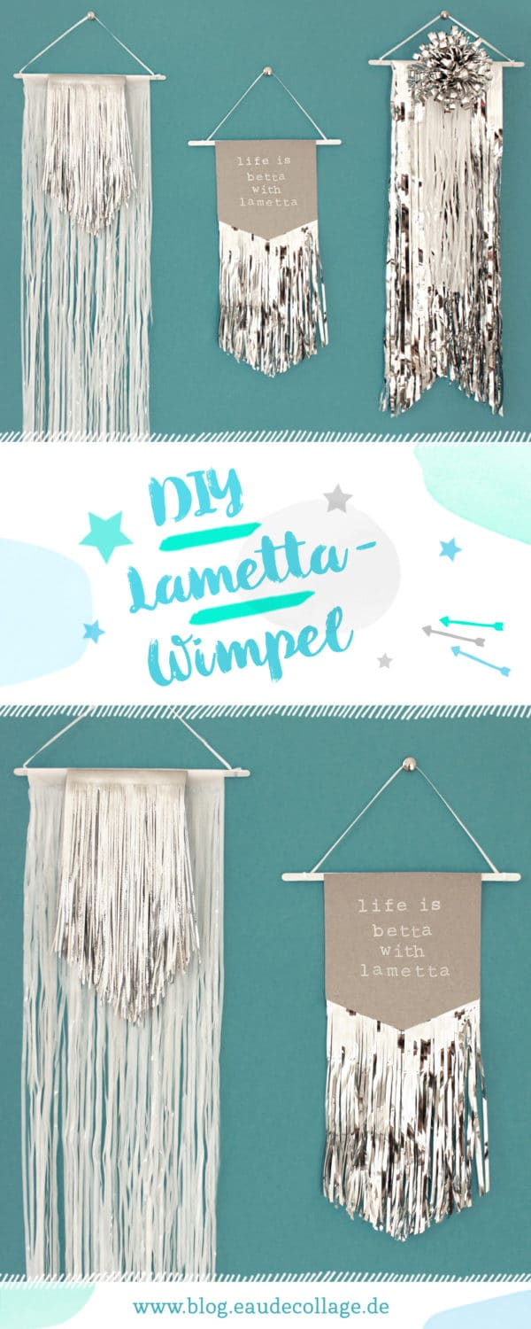 diy lametta wimpel als weihnachtsdeko basteln handmade kultur. Black Bedroom Furniture Sets. Home Design Ideas