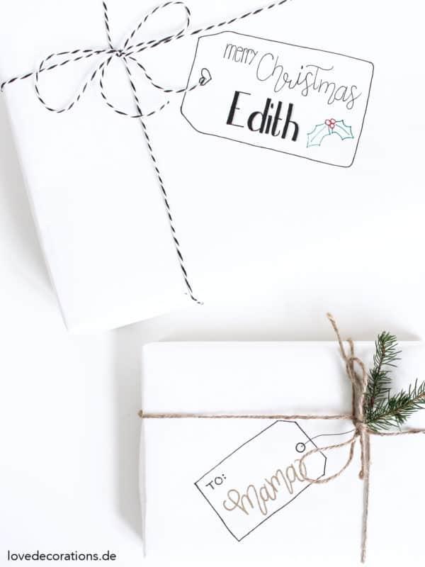Etiketten auf Geschenkpapier malen