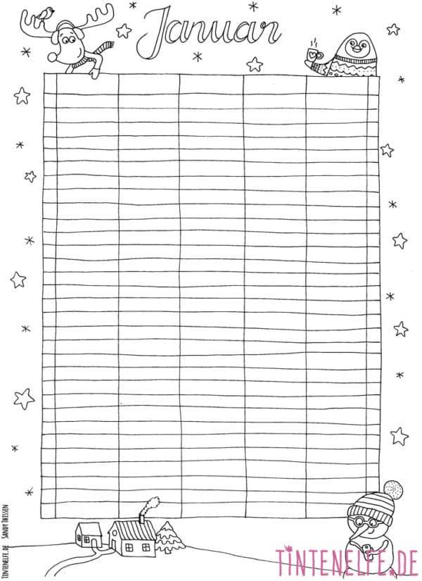 Ausmalen für Erwachsene - Kalenderblatt Januar