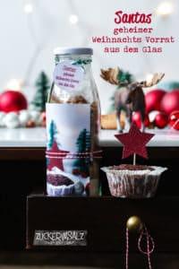 Santas geheimer Weihnachts Vorrat aus dem Glas