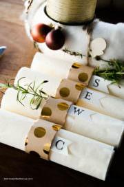 Serviettenringe aus Papprollen