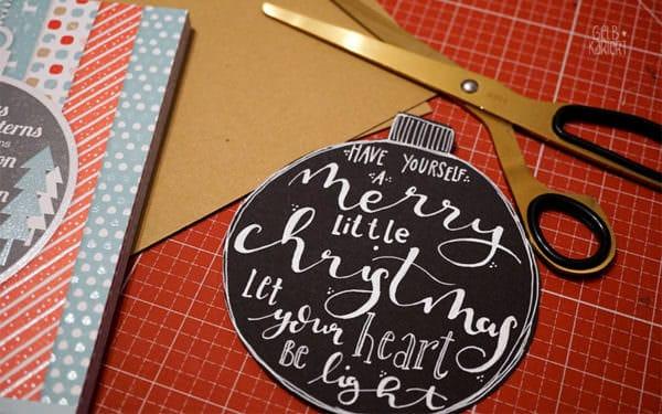 weihnachtskarten mit handlettering basteln handmade kultur. Black Bedroom Furniture Sets. Home Design Ideas
