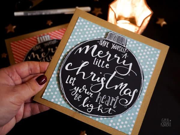 Weihnachtskarten mit Handlettering basteln