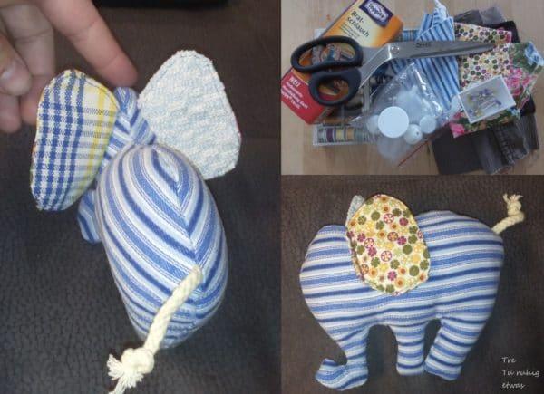 Elefantenrassel mit Knisterohren - selbstgenäht mit Schritt für Schritt Anleitung