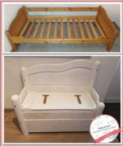 Sitzbank mit Truhenfunktion aus altem Bett