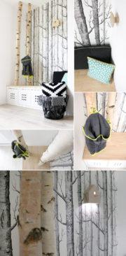 Neue Garderobe mit Birkenstämmen