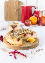 Cranberry-Käsekuchen mit Kandis-Crunch
