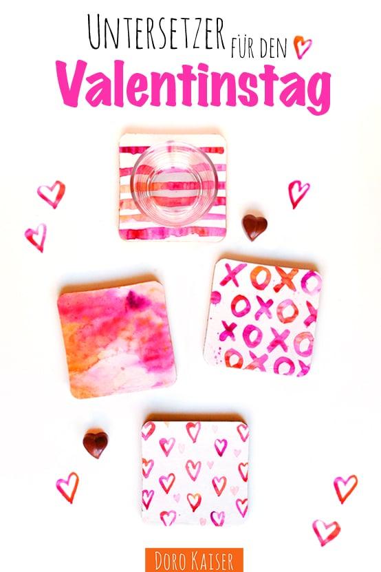 Untersetzer mit Aquarellfarben für den Valentinstag [DIY]
