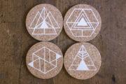 "Handbedruckte Korkuntersetzer ""Geometrie-Set"""