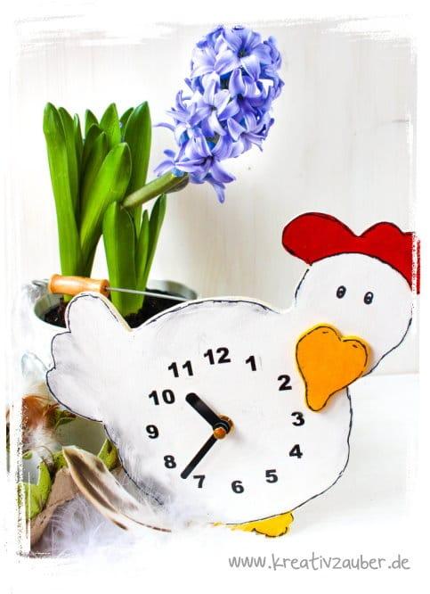 Huhn Uhr aus Holz inkl. Anleitung und Vorlage