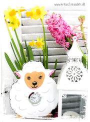 Schäfchen-Uhr für den Frühling