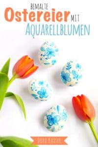 Ostereier mit Aquarellblumen