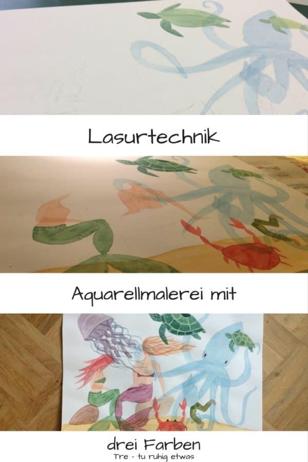 Aquarellmalerei Lasurtechnik mit drei Farben