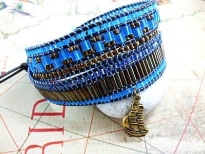 Wickelarmband für Damen in blau-bronze