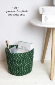 Frischer Wind in der Wohnung: DIY Korb aus Seil und Leder