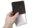 Handytasche aus Filz mit silbernem Kunstleder, Maßanfertigung