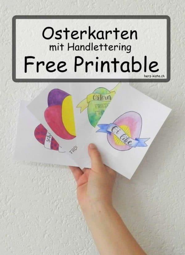 Osterkarten im Handlettering Stil - Gratis Printable
