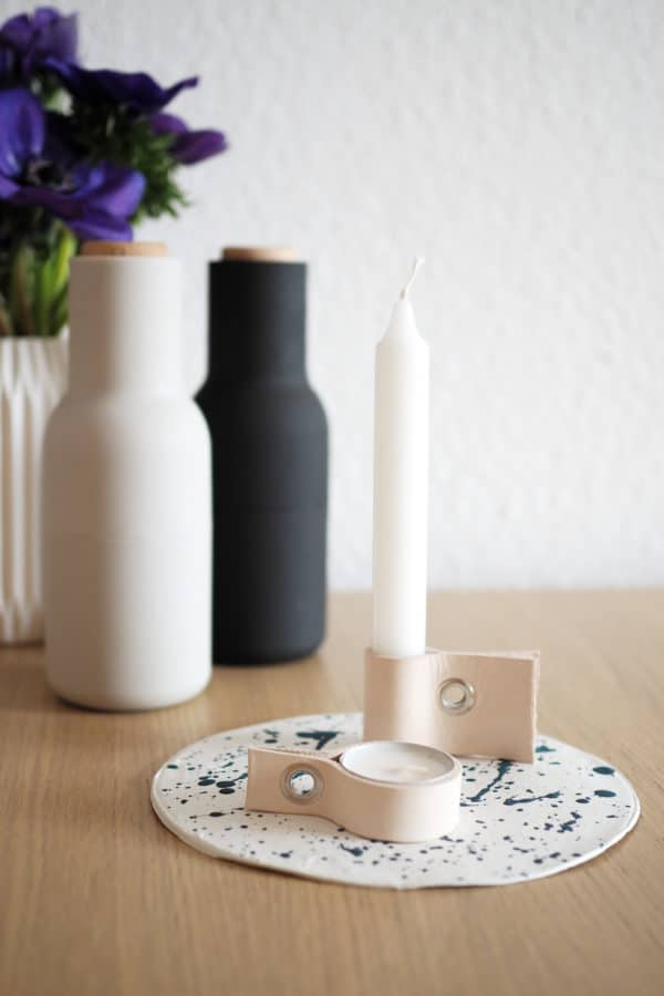 Scandi Kerzenhalter aus Leder