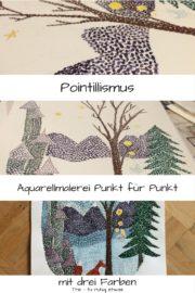 Aquarellmalerei mit drei Farben Pointilismus
