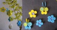 mit Kindern Osterdekoration basteln: Schmetterlinge und Blüten aus Filz