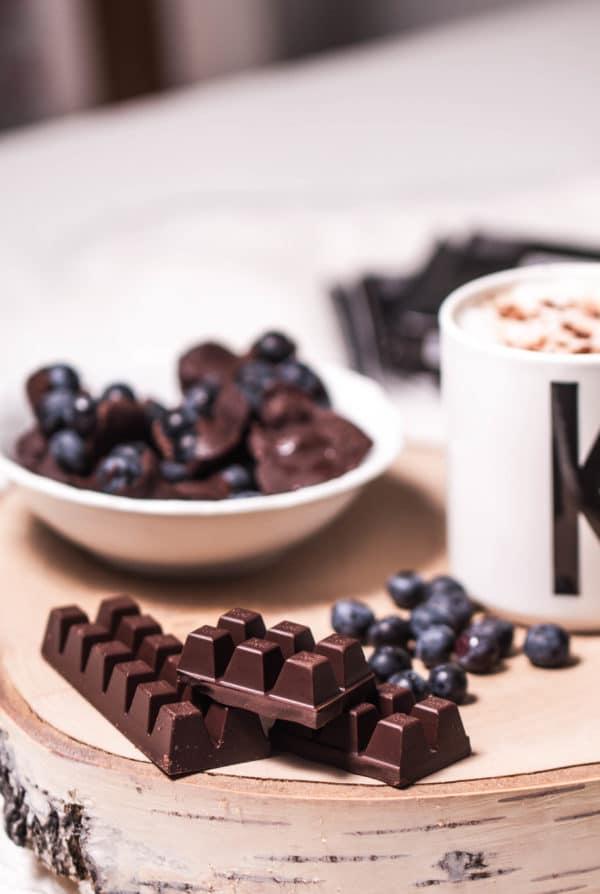 Leckere Blaubeerschokolade