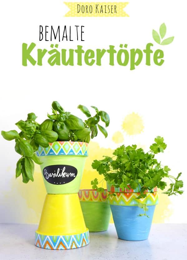 Bemalter Kräutertopf mit Hand Lettering Etikett