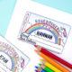 Einhorn-Freebie: Bastelidee für einen Kinderausweis
