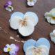 Hornveilchen-Blüten aus Filz