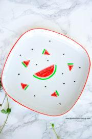 Trendige DIY-Idee für den Sommer: Porzellan mit Wassermelonen bemalen