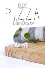 Schlichte Pizza Ohrstecker aus Modelliermasse - ganz einfach verkupfert!