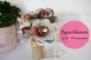 Papierblume basteln mit Pralinen
