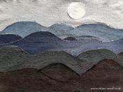 "Art Quilt ""Denim Stormy Sea"""