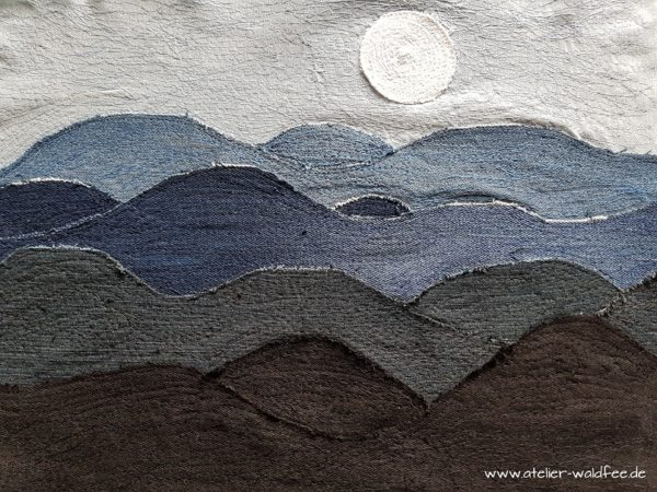 "Art Quilt ""Denim Stormy Sea"""