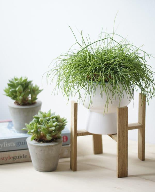 Blumenständer aus kleinen Holzleisten