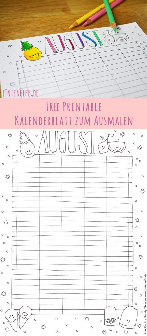 Kalenderblatt August zum Ausdrucken und Ausmalen