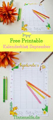 Kalenderblatt September zum Ausdrucken und Ausmalen