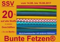 SSV - 20 % auf alle Stoffe bei Bunte Fetzen® in Berlin !