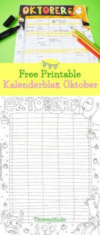 Kalenderblatt Oktober zum Ausdrucken und Ausmalen