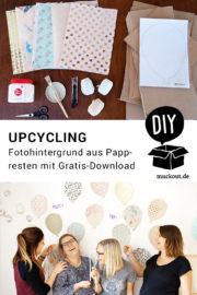 DIY-Fotohintergrund mit bunten Papp-Luftballons mit Druckvorlage