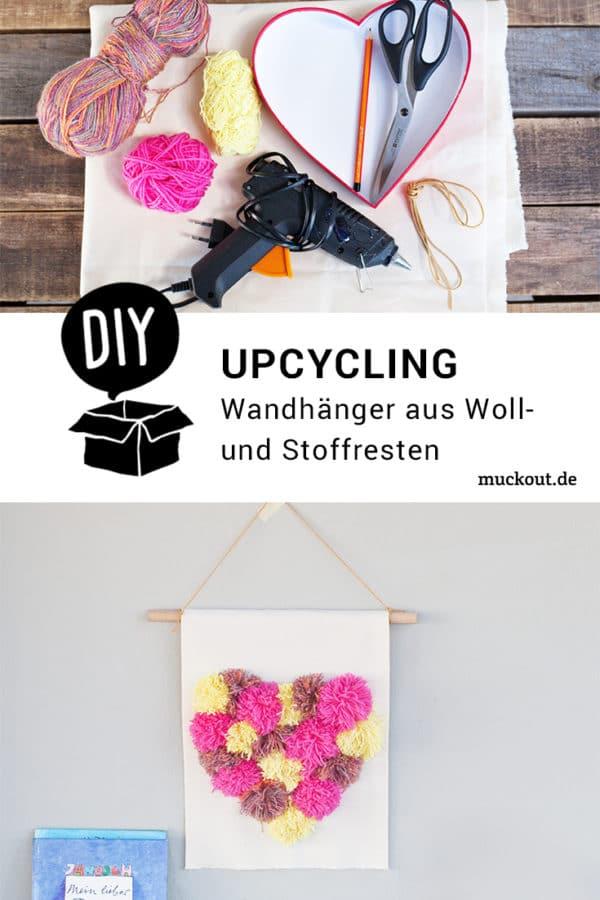 DIY-Idee: Wandhänger mit Pompom-Herz aus Wolle