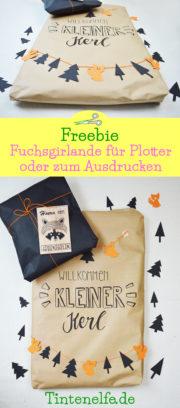 Geschenk zur Geburt verpacken plus Freebie Fuchsgirlande